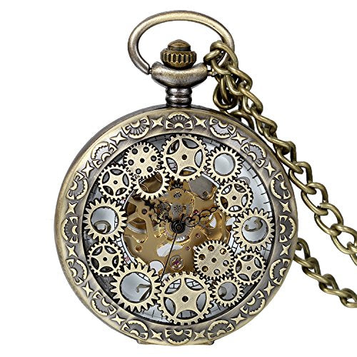 "Avaner Steampunk Retro Half Hunter Copper Gear Skeleton Hand Wind Mechanical Arabic Numeral Analog Display Pendant Pocket Watch with 14"" Chain"