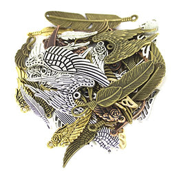 BESTCYC 100 Gram(not 100pcs) Mixed Antique Metal Alloy Feather and Wing Pendant Punk Steampunk Charms for Crafting DIY Jewelry Making Jewelry Findings Accessory