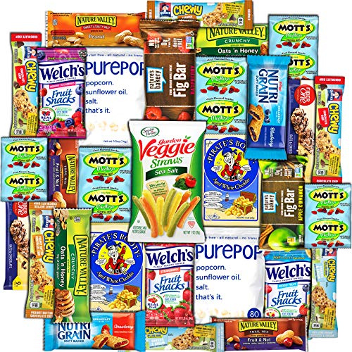 CollegeBox - Healthy College Care Package (30ct) - Granola bars, fruits snacks, popcorn, veggie chips, and more! Variety Assortment Bundle