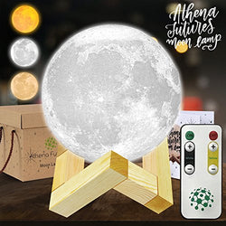 Moon Lamp Moon Light 3d Moon Lamp - 3 Color Moon Night Light With Stand - Mood Lamp Book, Globe Light, Cool Lamp, 3.93 in, USB Charging, With Wooden Stand, Box, Kids, MoonLight LED (USA Seller)
