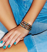 SPUNKYsoul 3 Wrap Dazzling Multi Color Crystal Leather Bracelet Collection