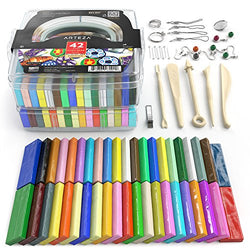 Arteza Polymer Clay Starter Kit, 42 Colors of Oven-Bake Clay Blocks, 5 Sculpting Tools, and 30 Jewelry Accessories