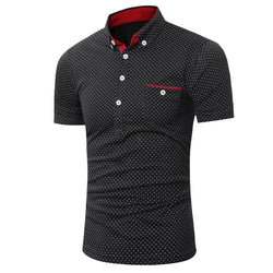 Kollmert Summer Mens Casual Buttons Short Sleeve Shirt Slim Dot Print Tops Blouse (M, Black)