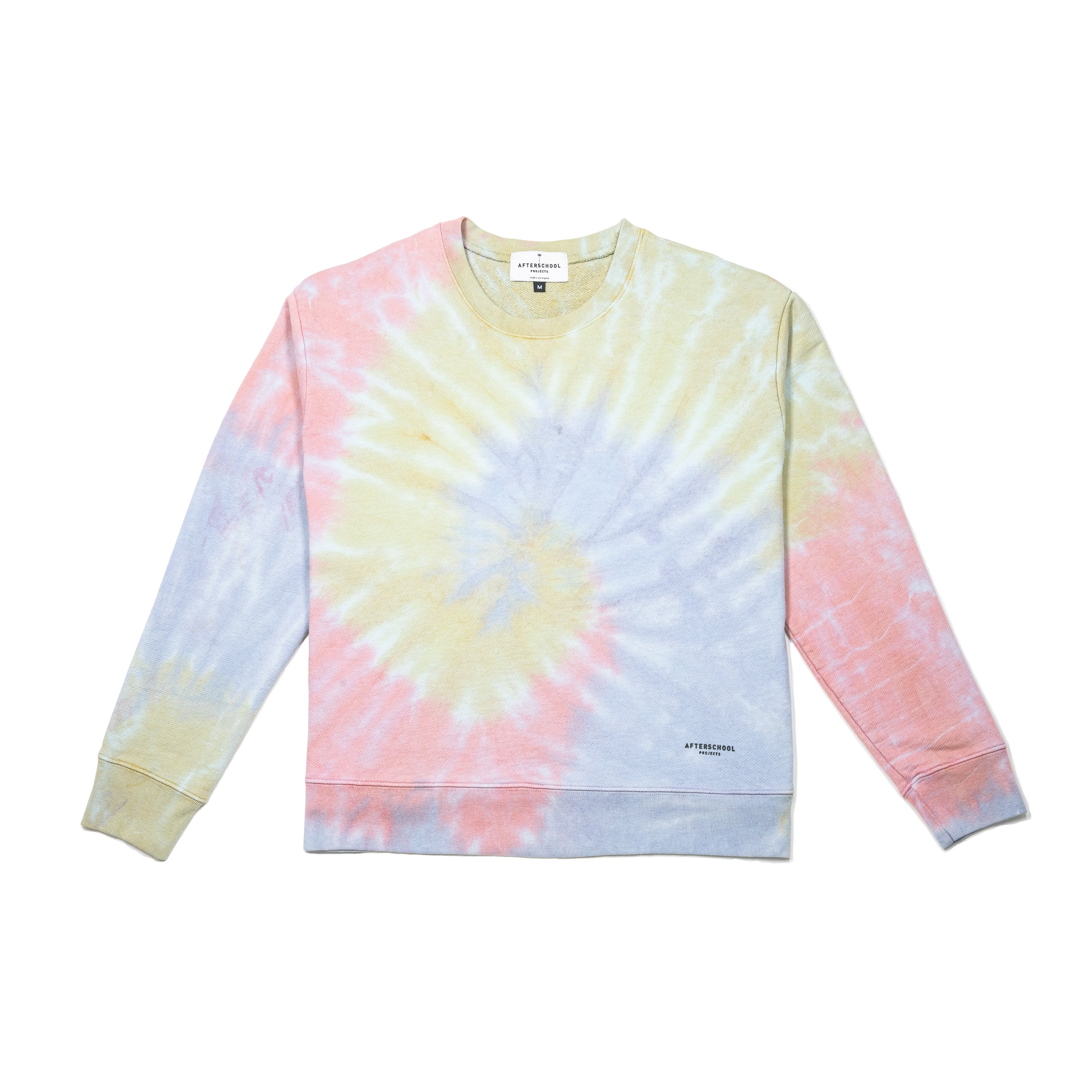 French Terry Crew Yellow Tie Dye