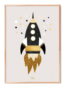 Gold Space Ship Poster