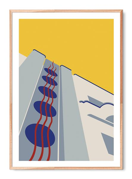 Portugal art deco architecture poster