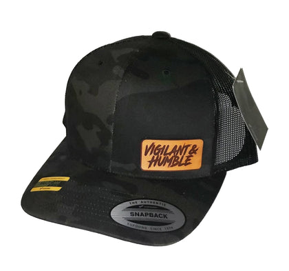 Black Multicam Leather Patch Hat