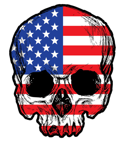 American Flag Skull Sticker - Vigilant & Humble