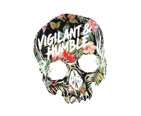 Hawaiian Skull Sticker - Vigilant & Humble