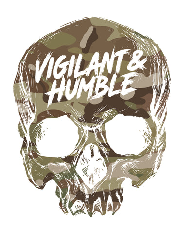 Multicam Skull Sticker - Vigilant & Humble