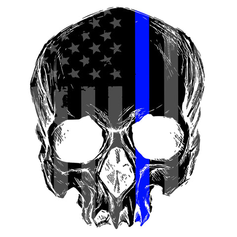 Thin Blue Line Skull Sticker
