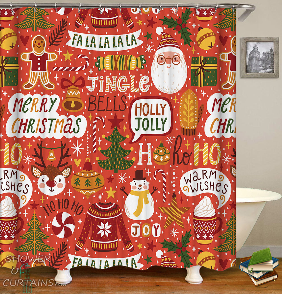Christmas Shower Curtains Mix