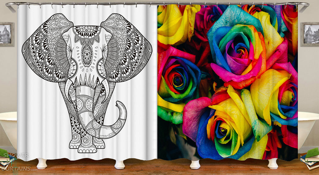 Colorful Shower Curtains fit Black And White Shower Curtain