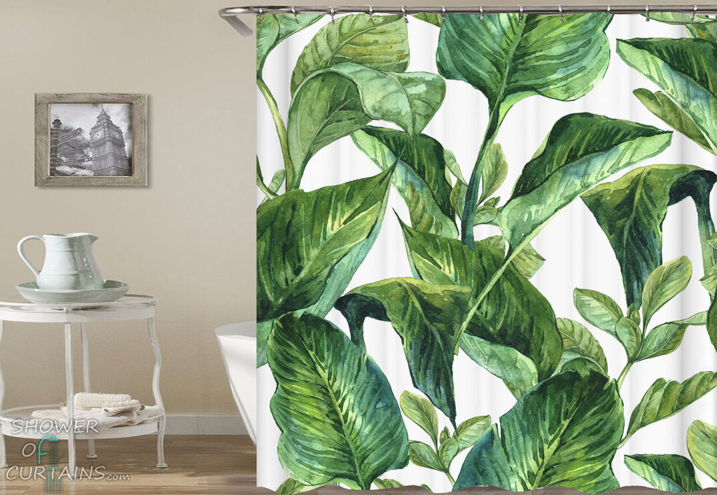 Leaves Shower Curtain - Tropical Themed Bathroom Decor