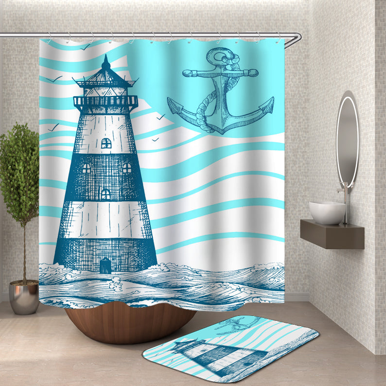 Lighthouse Shower Curtain - Nautical Themed Bathroom
