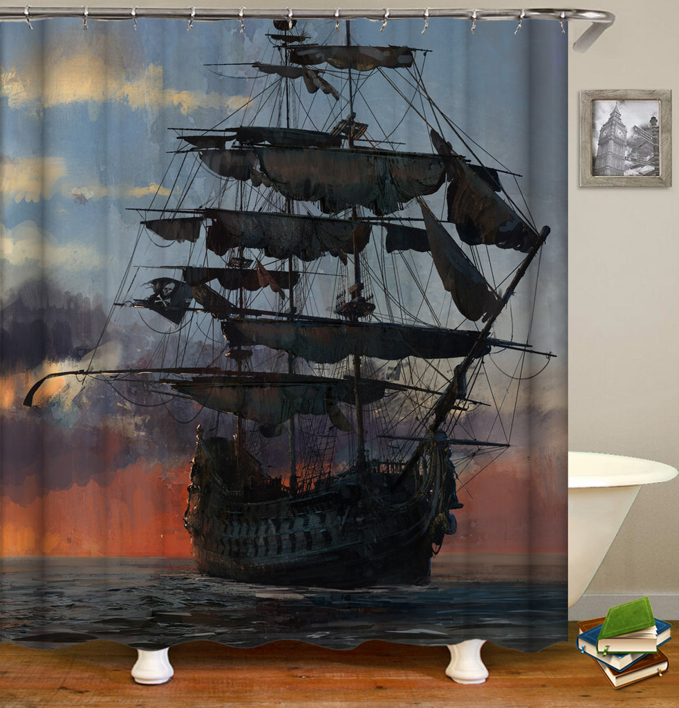 Ship Shower Curtan - Nautical Bathroom Decor