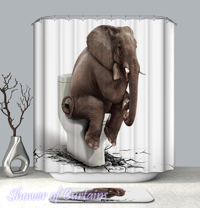 Shower Curtain of Shower Thinking Elephant - Shower Thoughts blog logo