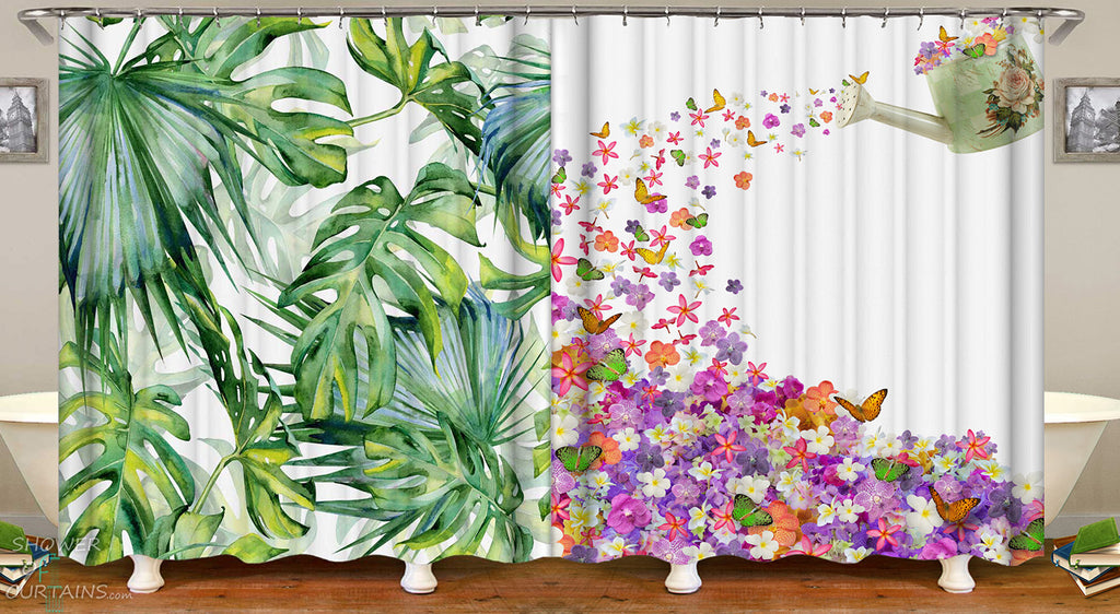 Shower Curtains Feature Green And Floral