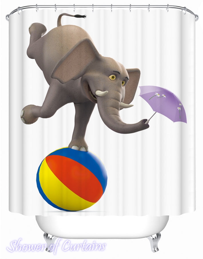 kids shpwer curtains logo - a Foolish Elephant Character