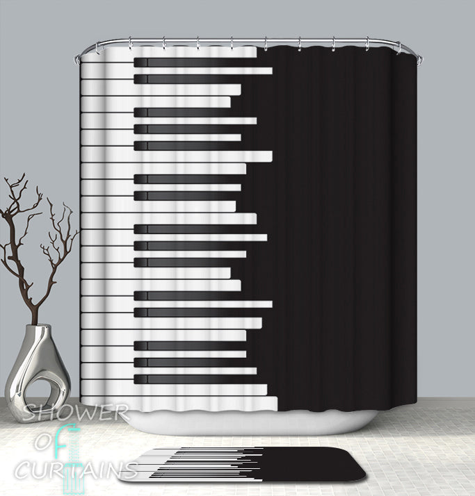Black And White Shower Curtain Collection Logo - Piano keys Design