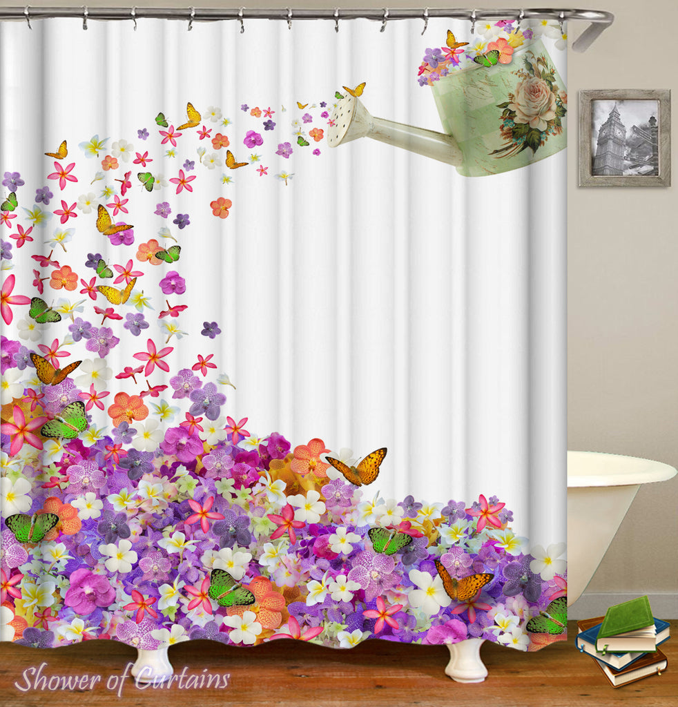 Floral shower curtain Logo - Watering Flowers And Butterflies Can a Colorful Shower Curtains