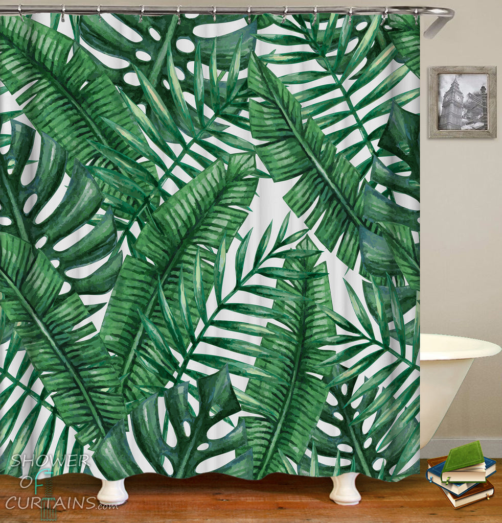 Leaf Shower Curtain and Green Shower Curtains