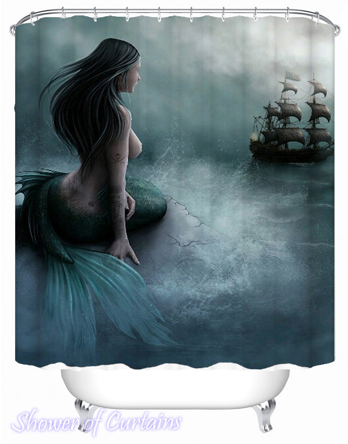 Mermaid Shower Curtain Logo - Beautiful Mermaid And Pirate Ship