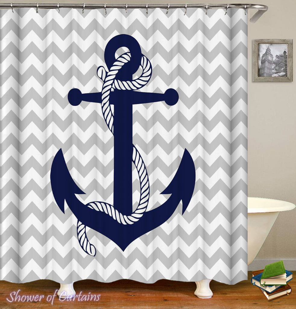 Nautical shower curtains Logo - Anchor Shower Curtain