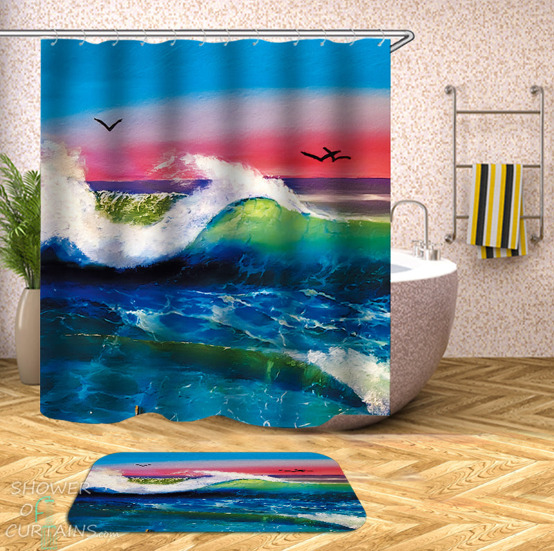 Ocean Shower Curtain - Collection of Shower Curtains and Bath Mats