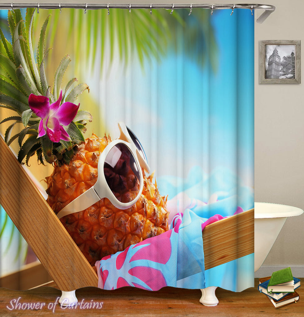 Pineapple Shower Curtain Collection Logo Chilling Out Pineapple