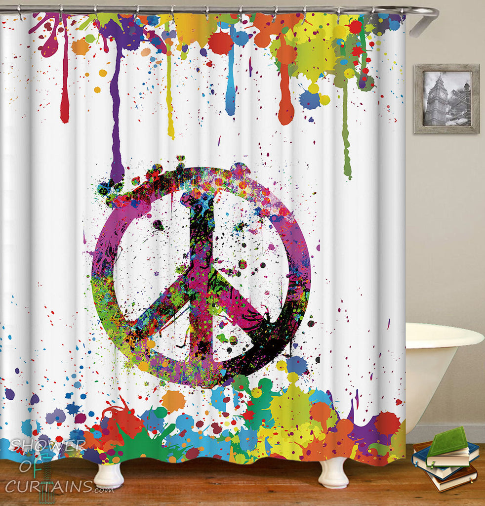 Retro Shower Curtains Riot Of Colors Peace