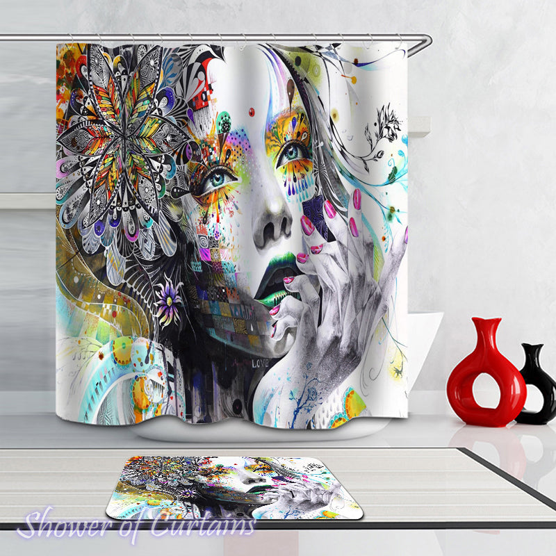 Shower Curtain of Art Beautiful Girl - art blod logo
