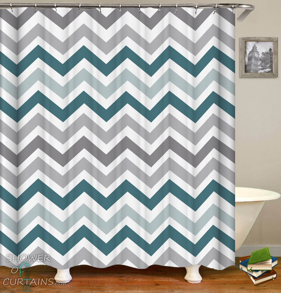 Simple Shower Curtains - Chevron Grey and Blue Hues