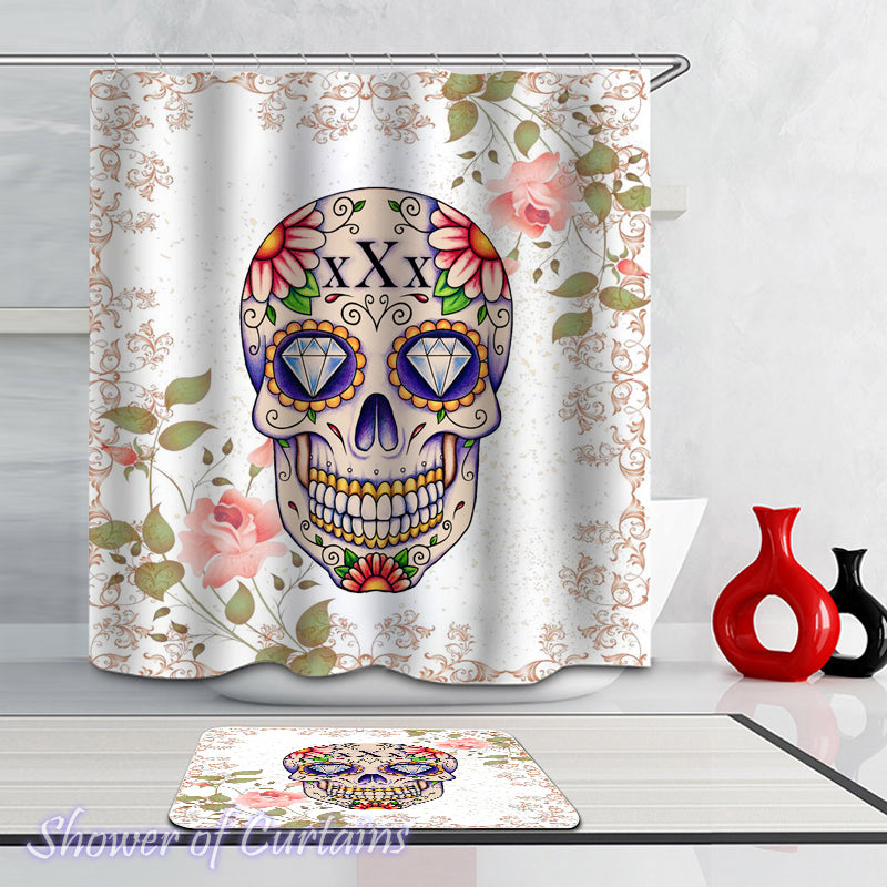 Skull shower curtain collection logo - Diamond Eyes Skull Shower Curtain