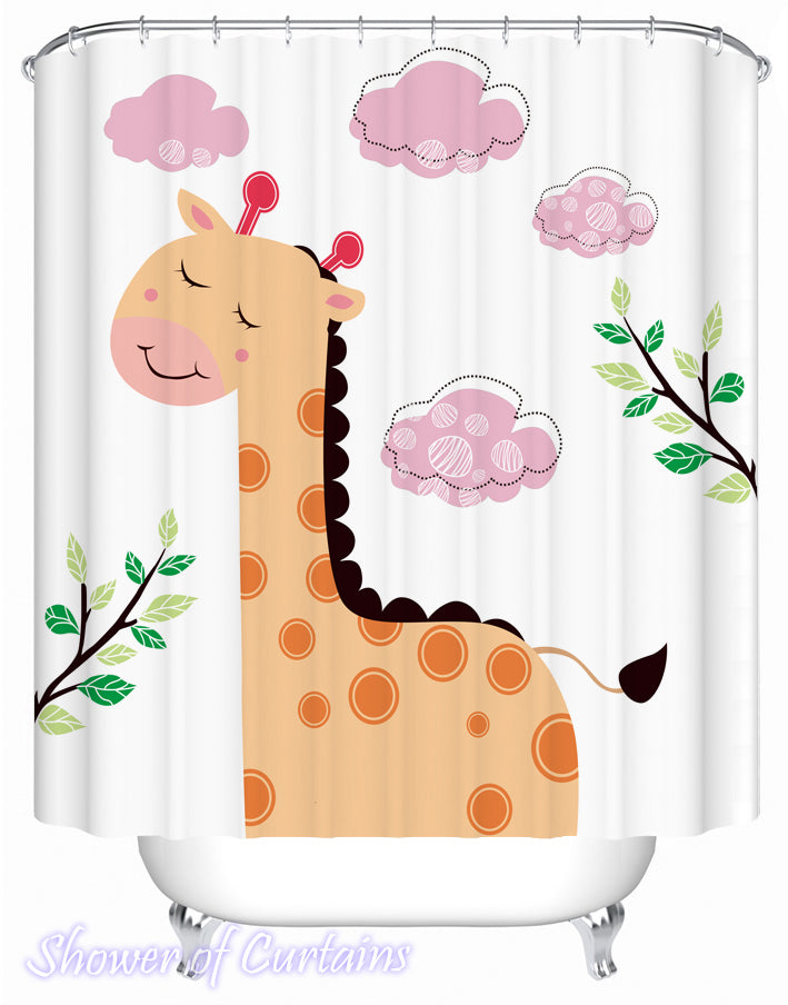 Shower curtain of Cartoon Giraffe painting