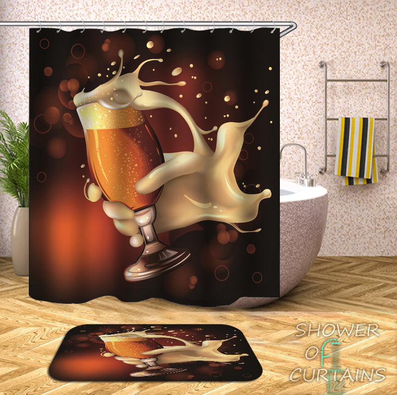 A Glass Of Beer Shower Curtain
