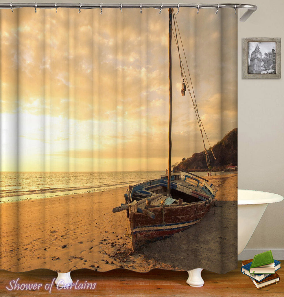 Abandoned Sailboat On The Beach Themed Shower Curtains