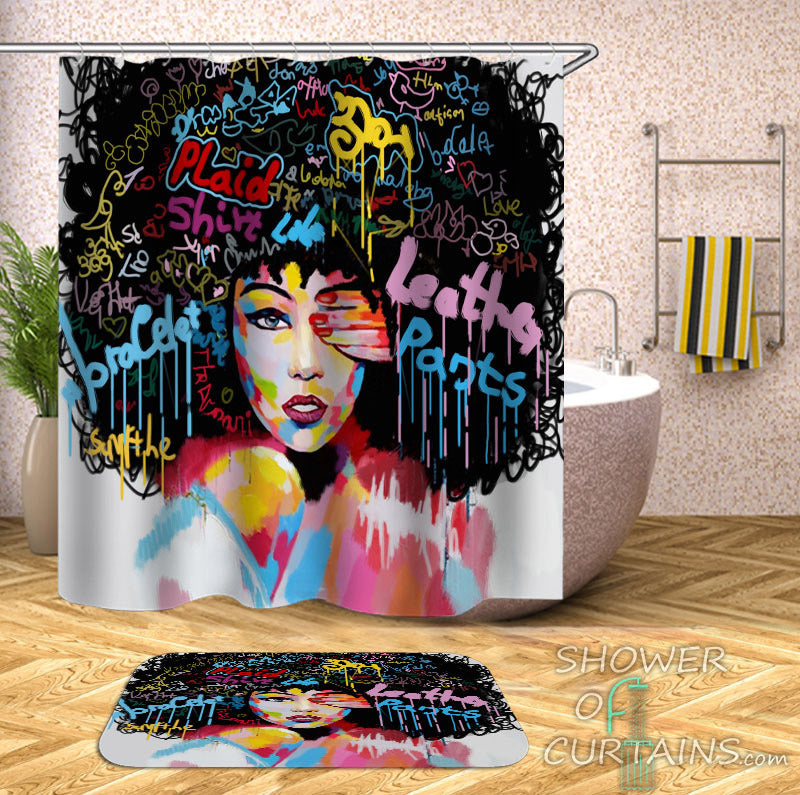 African American Shower Curtains of Urban Beautiful Afro Girl