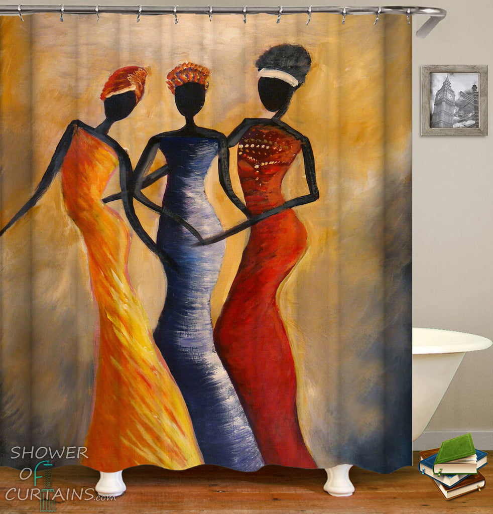 African Print Shower Curtain - African Ladies Art Painting
