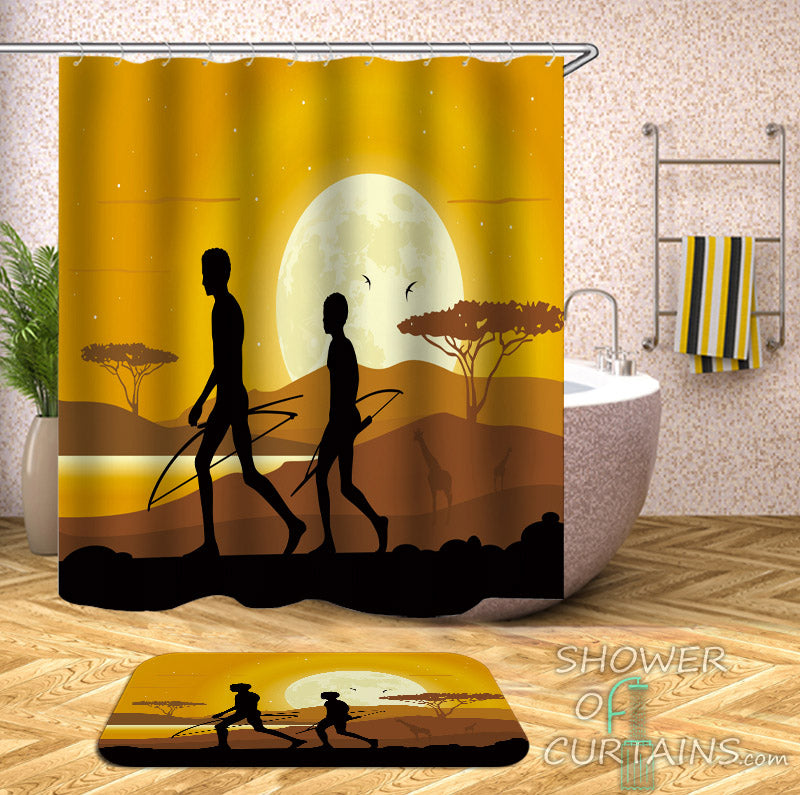 African Shower Curtain of African Hunters