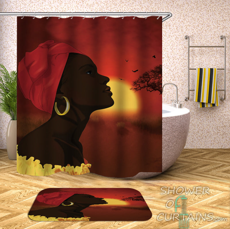 African Shower Curtain of African Woman Over The African Horizon