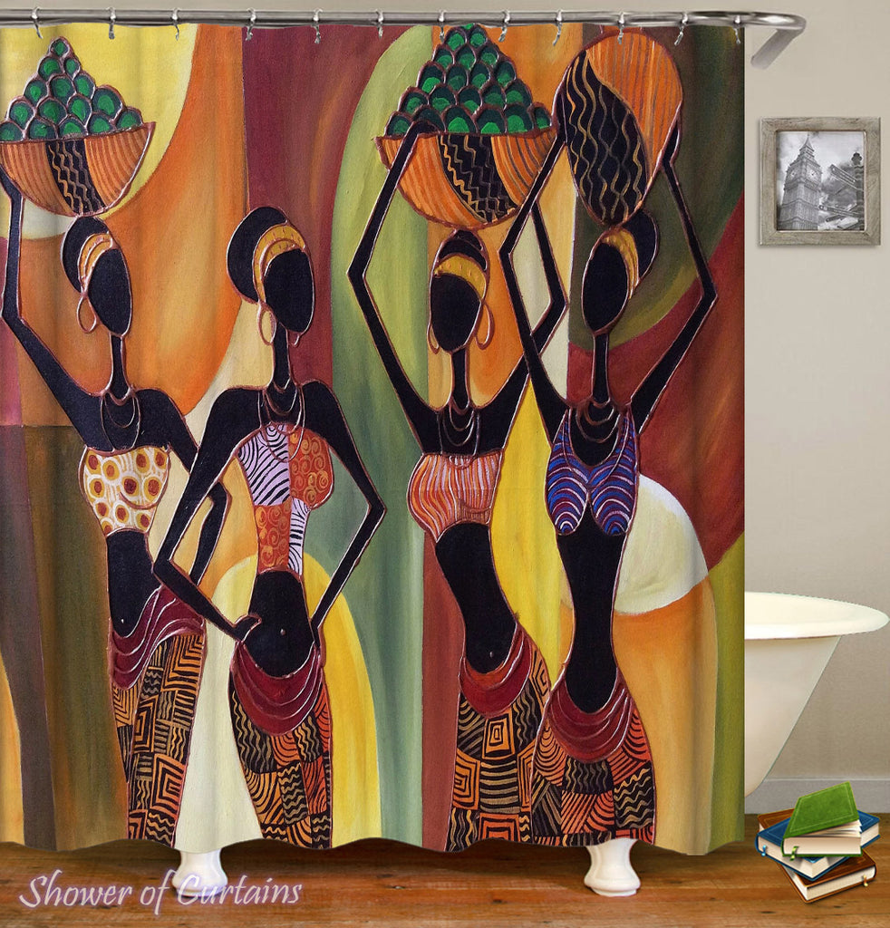 African Shower Curtain of Colorful African Ladies