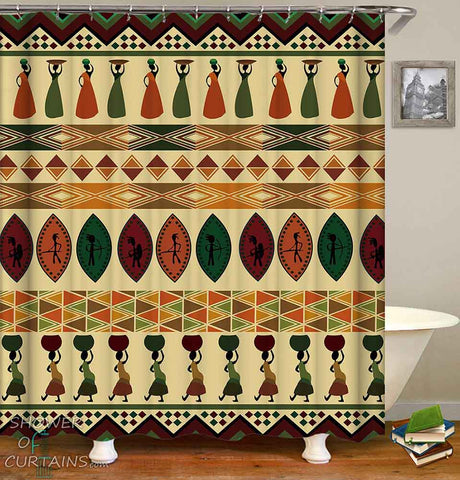 African Shower Curtain of Multi Colored African Ornaments