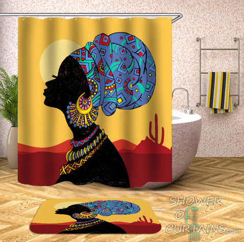 African Shower Curtains of Traditional African Lady Shower