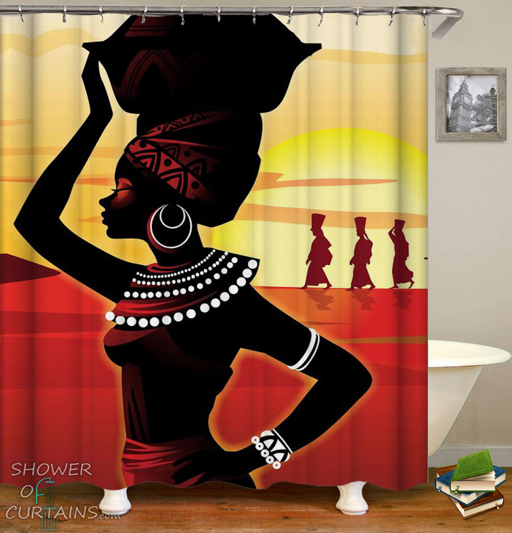 African Woman Shower Curtain - Beautiful African Girl