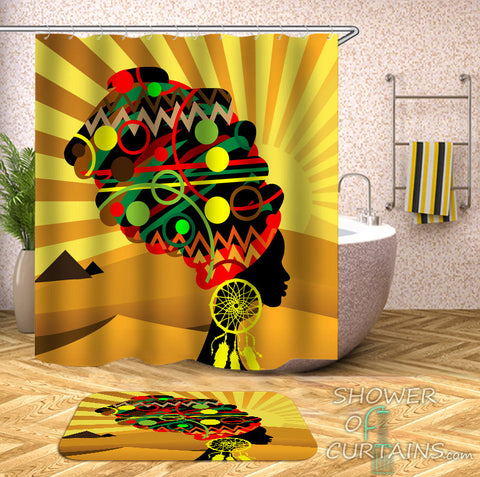 African Woman Shower Curtain - Multi Colored Head Covering