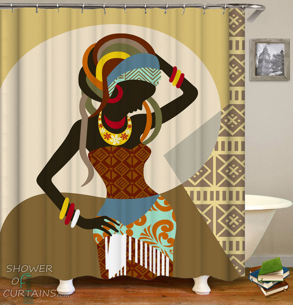 African Woman Shower Curtain - Traditional Dress
