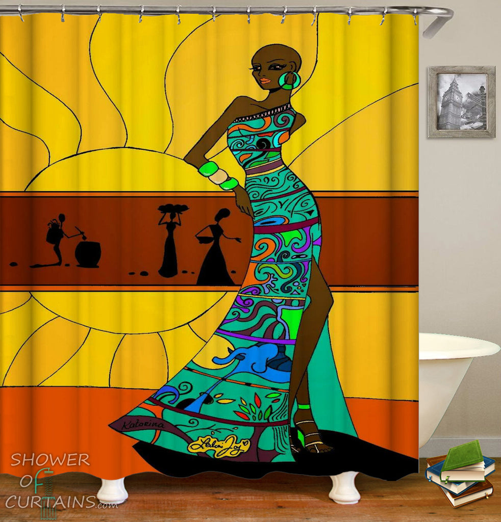 African Woman Shower Curtains of African Woman With Colorful Dress