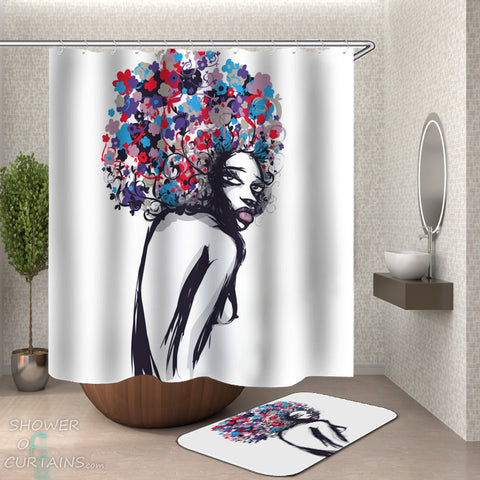 Afro Girl Shower Curtain and Bath Mat of Multi Colored Afro Girl Drawing