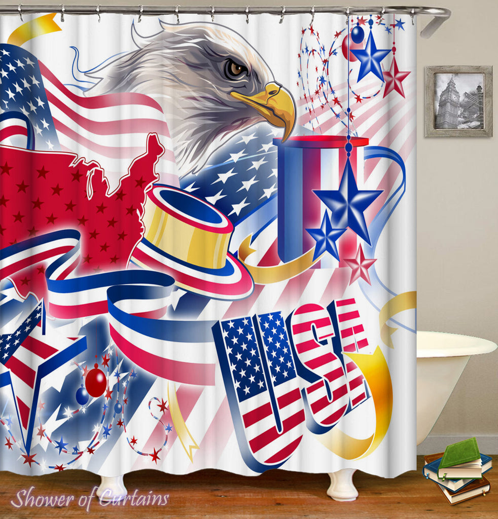 American Flag shower curtain - American Celebration